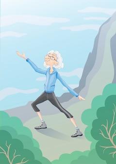 Starszy, siwy mężczyzna uprawiający gimnastykę taiji lub wushu na łonie natury. aktywny tryb życia i zajęcia sportowe na starość. ilustracja.