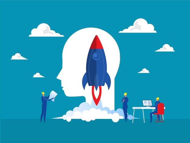Start projektu biznesowego ludzie uruchamiają rakietę ze statku kosmicznego