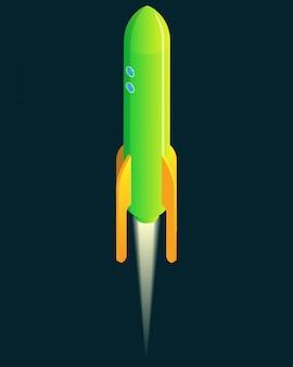 Start rakiety izometrycznej kreskówki