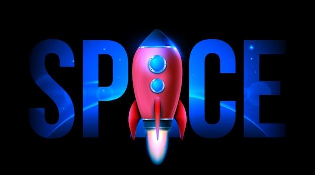 Start rakiety kosmicznej 3d. eksploracja kosmosu.