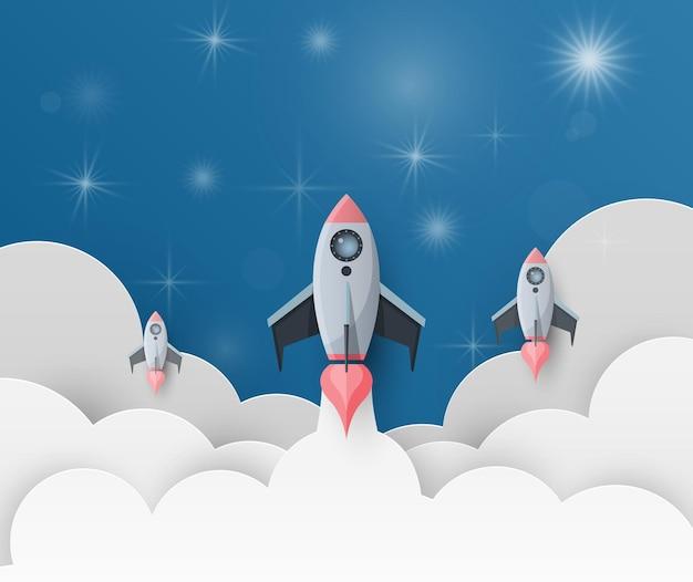 Start rakiety kosmicznej. uruchom koncepcję w stylu płaski. ilustracja.