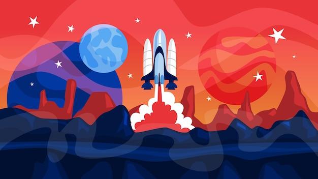 Start rakiety kosmicznej z planetami w tle. idea badań i eksploracji kosmosu. budowa rusza po odliczaniu. ilustracja