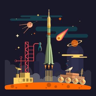 Start rakiety na krajobraz kosmiczny. planety, satelita, gwiazdy, łazik księżycowy, komety, księżyc, chmury. ilustracja wektorowa w stylu płaski.