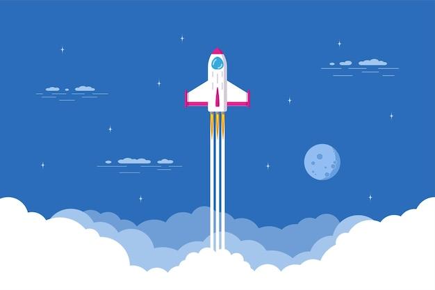 Start rakiety, statek kosmiczny. płaski sztandar koncepcja uruchamiania firmy.