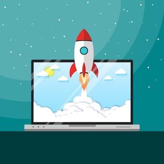 Start rakiety wektor ilustracja koncepcja