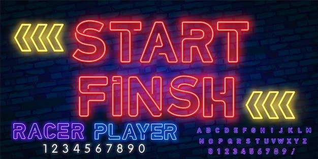 Start - zakończ neon z alfabetem neonowym.