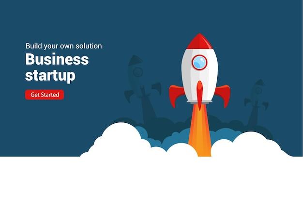 Startowa rakieta biznesowa uruchomienie płaskiej ilustracji wektorowych przestrzeń startowa