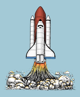 Startuje prom kosmiczny. astronomiczna eksploracja astronautów. grawerowane ręcznie rysowane w starym szkicu, styl vintage na etykiecie, startup firmy lub t-shirt. latający statek. wystrzelenie rakiety w niebo.