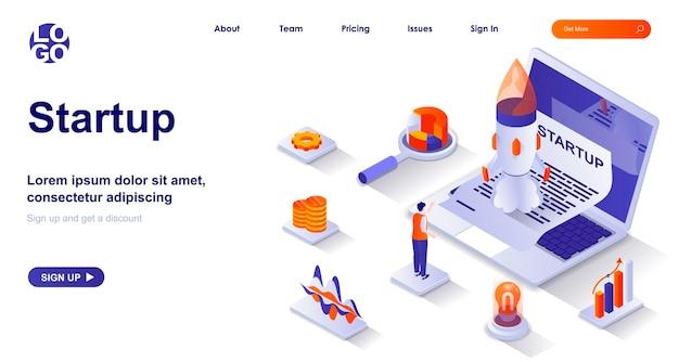 Startup 3d izometryczna strona docelowa z postaciami ludzi