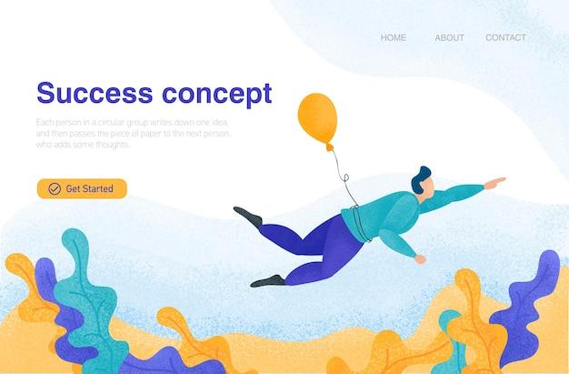 Startup concept mężczyzna lecący balonem nowy projekt udane uruchomienie