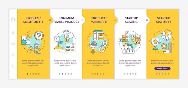 Startup etapy cyklu życia onboarding wektor szablon. produkt, dopasowanie do rynku. responsywna strona mobilna z ikonami. przewodnik po stronie internetowej 5 ekranów krokowych. koncepcja koloru biznesowego z ilustracjami liniowymi