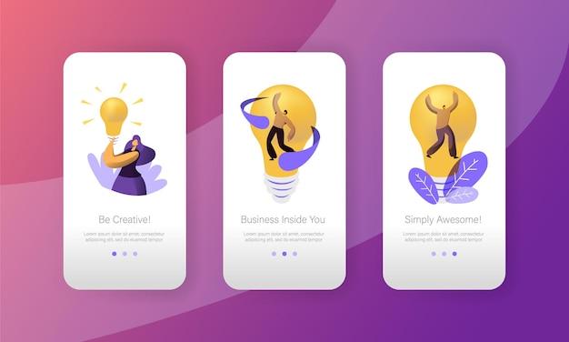 Startup kreatywny pomysł koncepcja żarówka strona aplikacji mobilnej zestaw ekranu na pokładzie.