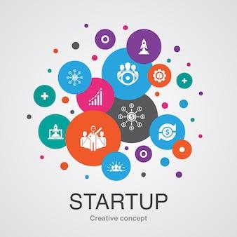 Startup modna koncepcja projektowania bańki interfejsu użytkownika z prostymi ikonami. zawiera takie elementy jak crowdfunding, business launch, motywacja, rozwój produktu i inne