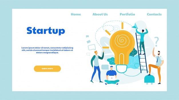 Startup pomysły płaski wektor strony docelowej szablon