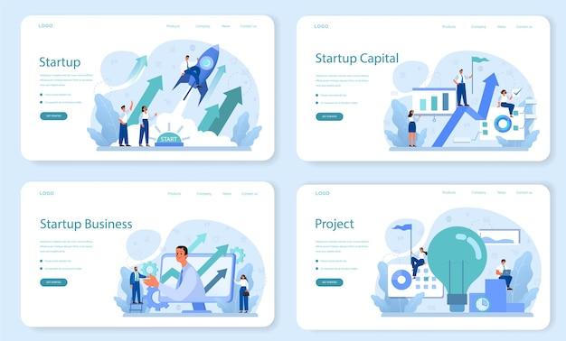 Startupowy baner internetowy lub zestaw stron docelowych