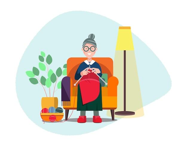 Staruszka siedzi w fotelu i robi na drutach. rekreacja i hobby, czas wolny. elementy wewnętrzne. ilustracja wektorowa płaskie, clipart.