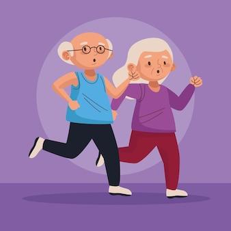 Staruszkowie prowadzący postacie aktywnych seniorów