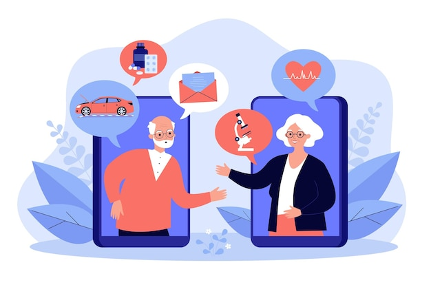 Staruszkowie rozmawiają online, omawiają wiadomości i ilustrację zdrowia