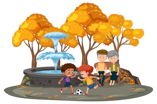 Staruszkowie z dziećmi w parku na białym tle