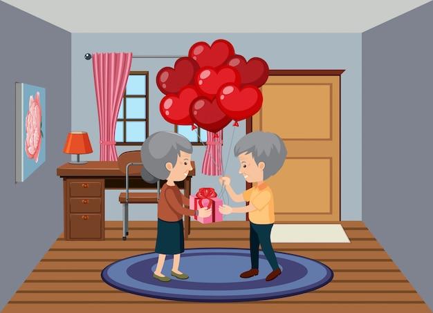 Staruszkowie z prezentem i balony