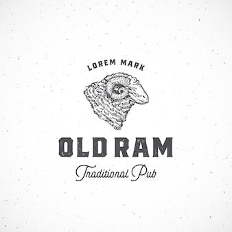 Stary baran pub streszczenie znak, symbol lub szablon logo.
