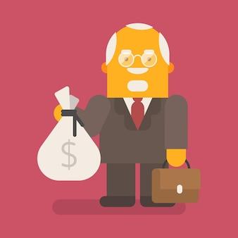 Stary biznesmen posiada torbę pieniędzy i walizkę. wektor znaków. ilustracja wektorowa