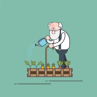 Stary brodaty facet nawadnia jego ogrodowego wektor