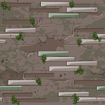 Stary ceglany mur tekstura bez szwu. cegła kamienie i wzór mchu trawy.