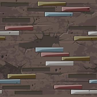 Stary ceglany mur tekstura bez szwu. cegła kamienie wzór. brązowa ściana z kamieniami