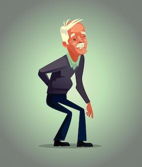 Stary charakter dziadka ma ból pleców, osteoporoza koncepcja cierpienia na emeryturę