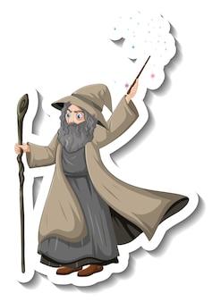 Stary czarodziej trzymający laskę i naklejkę z postacią z kreskówki różdżki