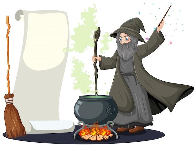 Stary czarodziej z czarnej magii garnek i miotły i pusty transparent papier kreskówka styl na białym tle