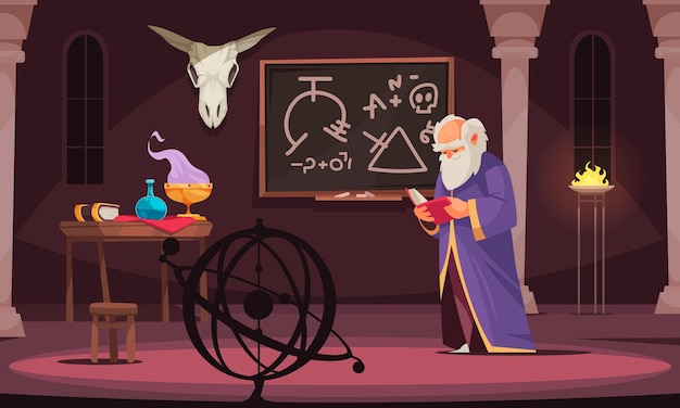Stary czarownik czyta książkę alchemiczną w pokoju z tablicą zwierzęcą czaszką stół z narzędziami alchemicznymi ilustracja kreskówka