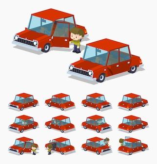 Stary czerwony izometryczny sedan 3d lowpoly