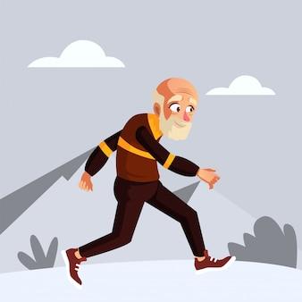 Stary człowiek biegnie rano, aby utrzymać ciało w dobrej formie