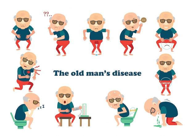 Stary człowiek chory. chory na bycie chorym