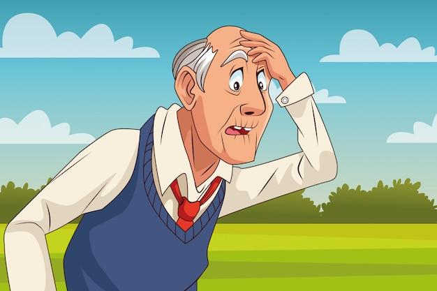 Stary człowiek cierpi na chorobę alzheimera w postaci pola