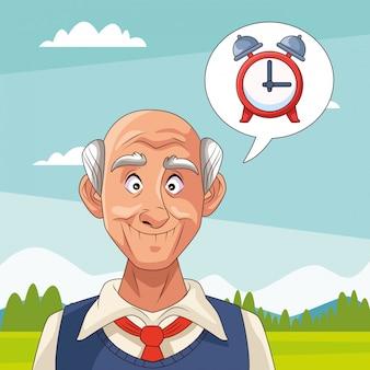 Stary człowiek cierpi na chorobę alzheimera z budzikiem