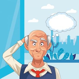 Stary człowiek cierpi na chorobę alzheimera z dymek