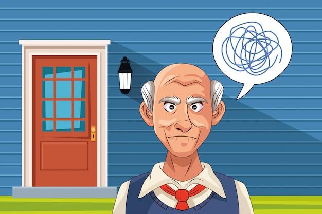 Stary człowiek cierpi na chorobę alzheimera z kulasami