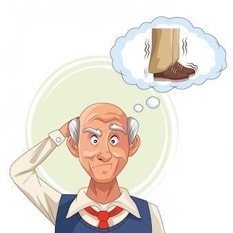 Stary człowiek cierpi na chorobę alzheimera z myślenia buty