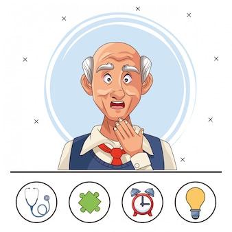 Stary człowiek cierpi na chorobę alzheimera z zestawem elementów