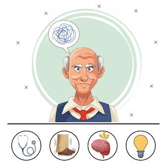 Stary człowiek cierpi na chorobę alzheimera z zestawem ikon