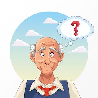 Stary człowiek cierpi na chorobę alzheimera ze znakiem zapytania
