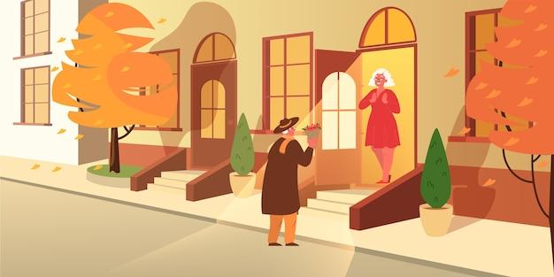 Stary człowiek daje żonie kwiaty. staruszkowie spędzają razem czas. szczęśliwy dziadek i babcia na emeryturze. ilustracja