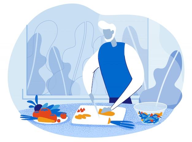 Stary człowiek gotuje w kuchni krojenia warzyw