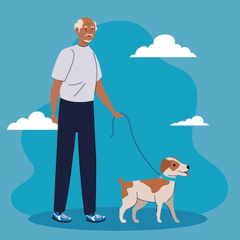 Stary człowiek idzie z psem zwierzakiem na niebieskim tle ilustracji