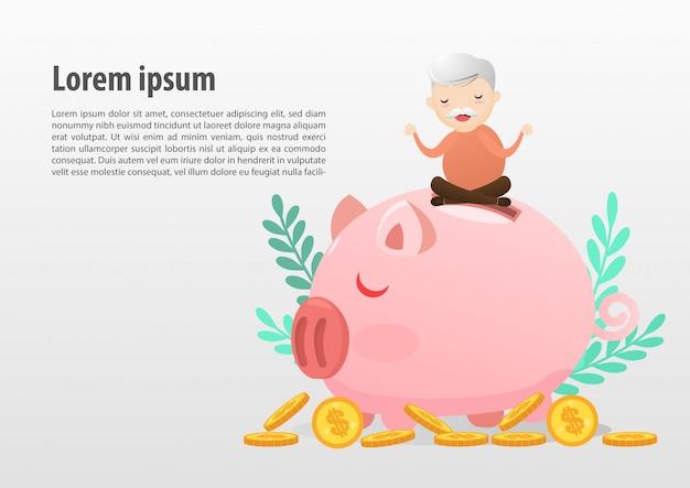 Stary człowiek medytuje nad prosiątko bankiem, save pieniądze pojęcie. szablon tekstowy