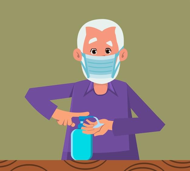 Stary człowiek mycia rąk z dezynfekcji rąk