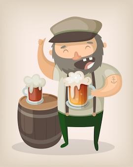 Stary człowiek pije piwo przy stole z beczki, śmiejąc się i uśmiechając